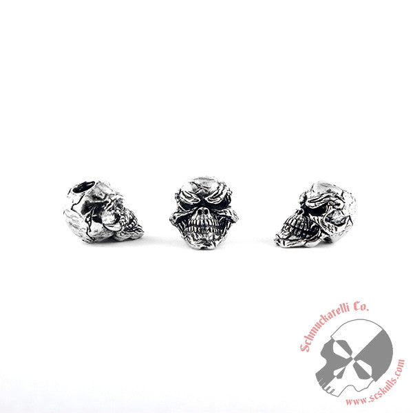 Grins Skull Bead - Solid Sterling Silver