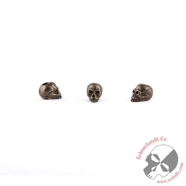 "Joe Mini Skull Bead (1/8"" Hole) - Solid Oil Rubbed Bronze"