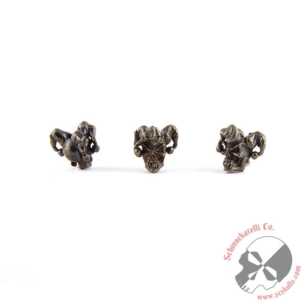 "Jester Mini Skull Bead (1/8"" Hole) - Solid Oil Rubbed Bronze"