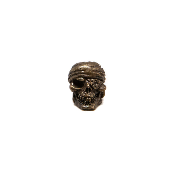 One-Eyed Jack Skull Bead - Solid Bronze