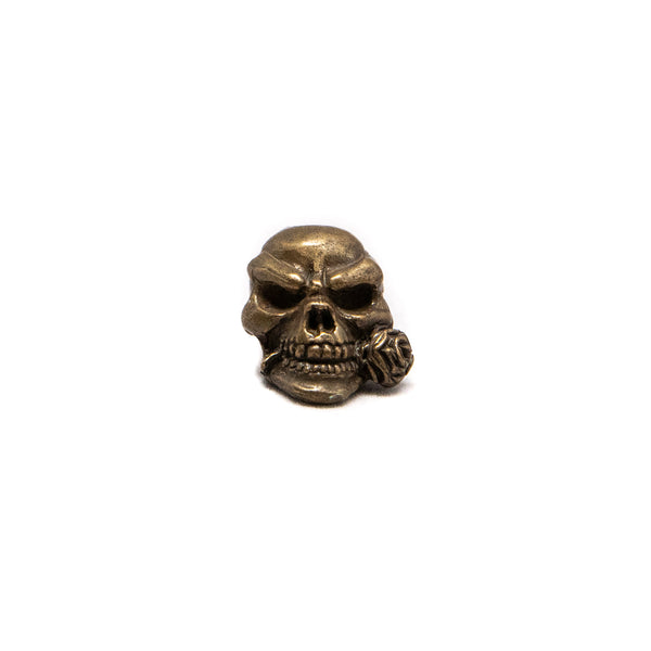 Rose Skull Bead - Solid Bronze