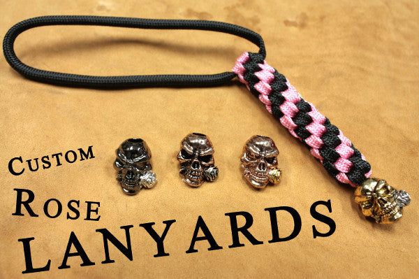 Custom Rose Lanyard - Black + Color of Your Choice