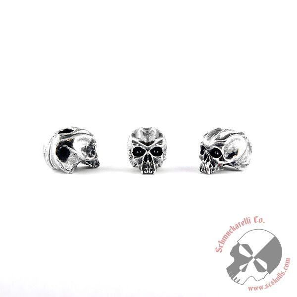 "Cyber Skull Bead (3/16"" Hole) - Solid Sterling Silver"