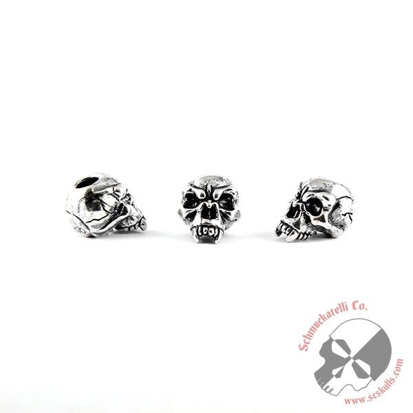 Fang Skull Bead - Solid Sterling Silver