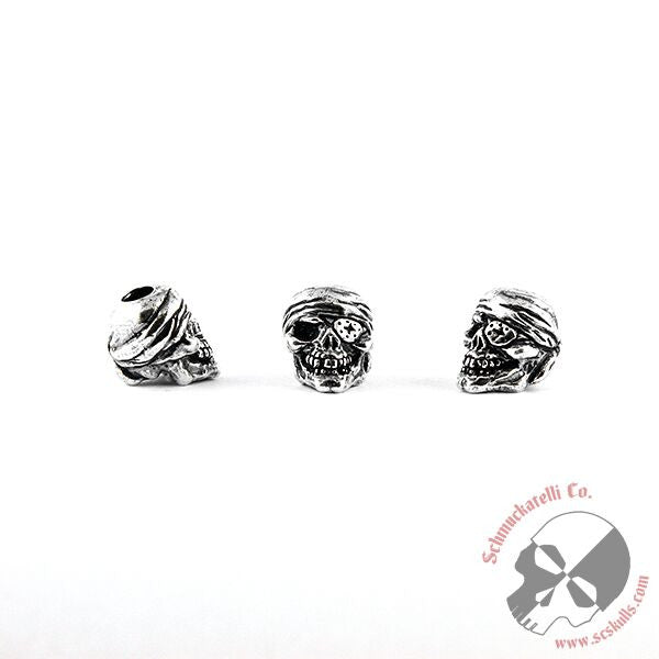One-Eyed Jack Skull Bead - Solid Sterling Silver