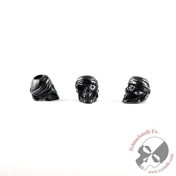 One-Eyed Jack Skull Bead - Black Titanium