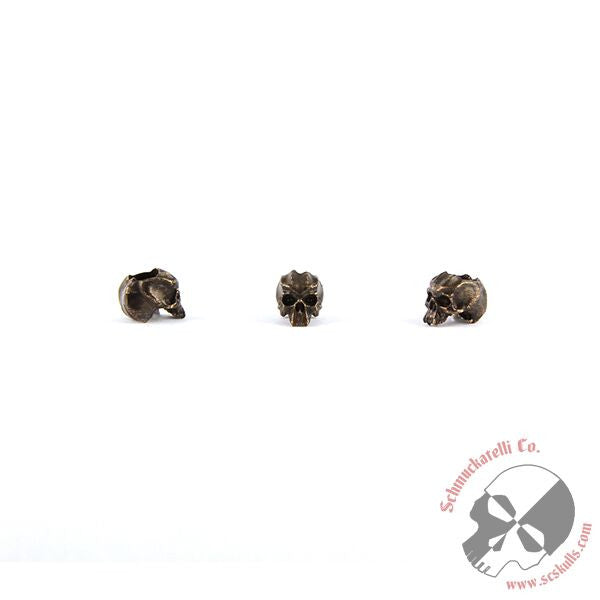 "Cyber Mini Skull Bead (3/16"" Hole) - Solid Oil Rubbed Bronze"