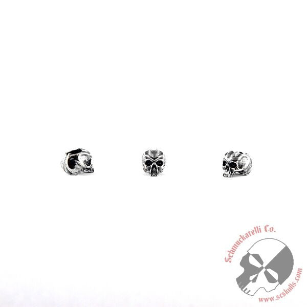 "Cyber Mini Skull Bead (3/16"" Hole) - Solid Sterling Silver"