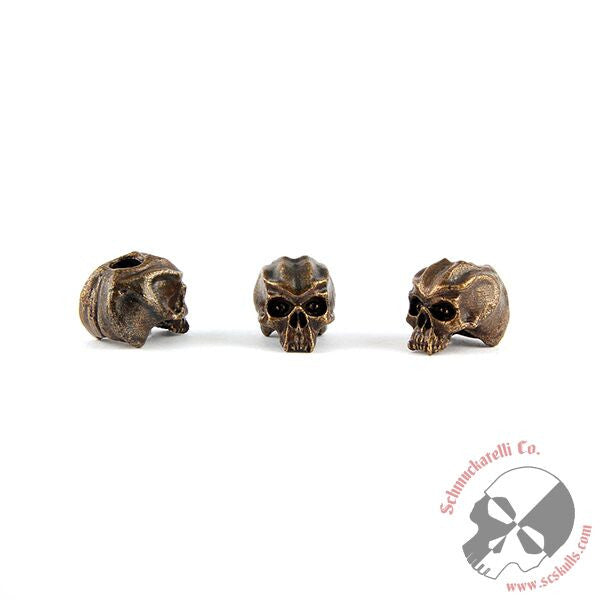 "Cyber Skull Bead (3/16"" Hole) - Solid Oil Rubbed Bronze"