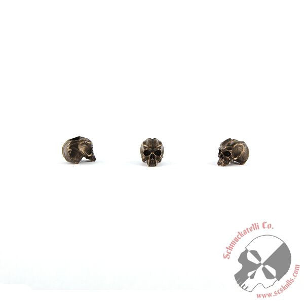 "Cyber Mini Skull Bead (1/8"" Hole) - Solid Oil Rubbed Bronze"