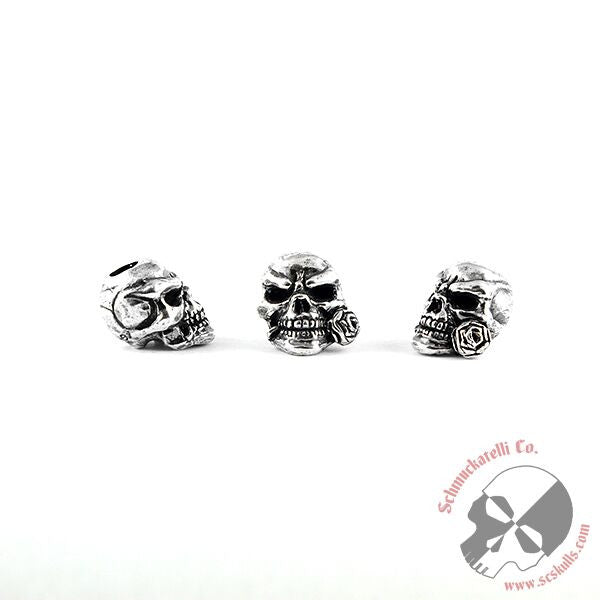 Rose Skull Bead - Solid Sterling Silver