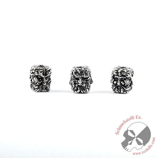 Green Man Bead - Solid Sterling Silver