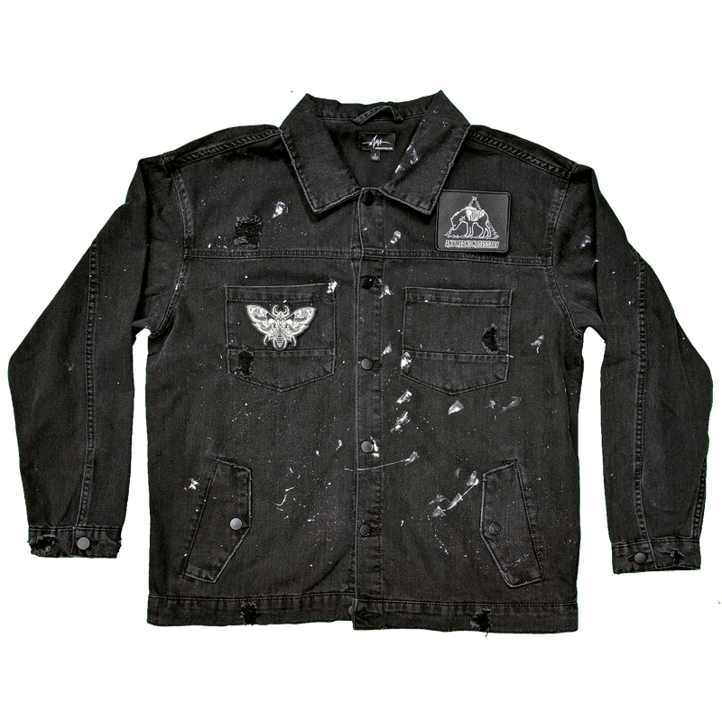 any means necessary its all in your head black denim trucker jacket front