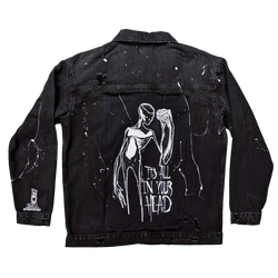 any means necessary its all in your head black denim trucker jacket back