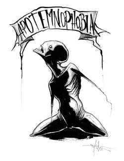 any means necessary feartober inktober poster print apotemnophobia