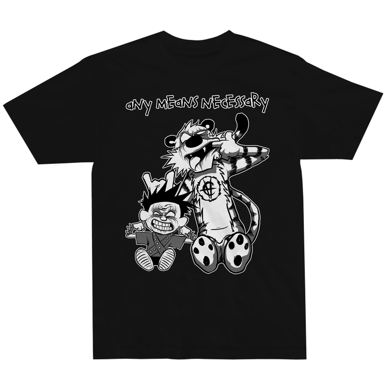 any means necessary shawn coss calvin and hobbes t shirt black