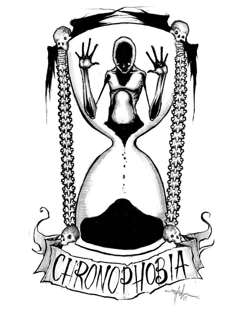 any means necessary feartober inktober poster print chronophobia