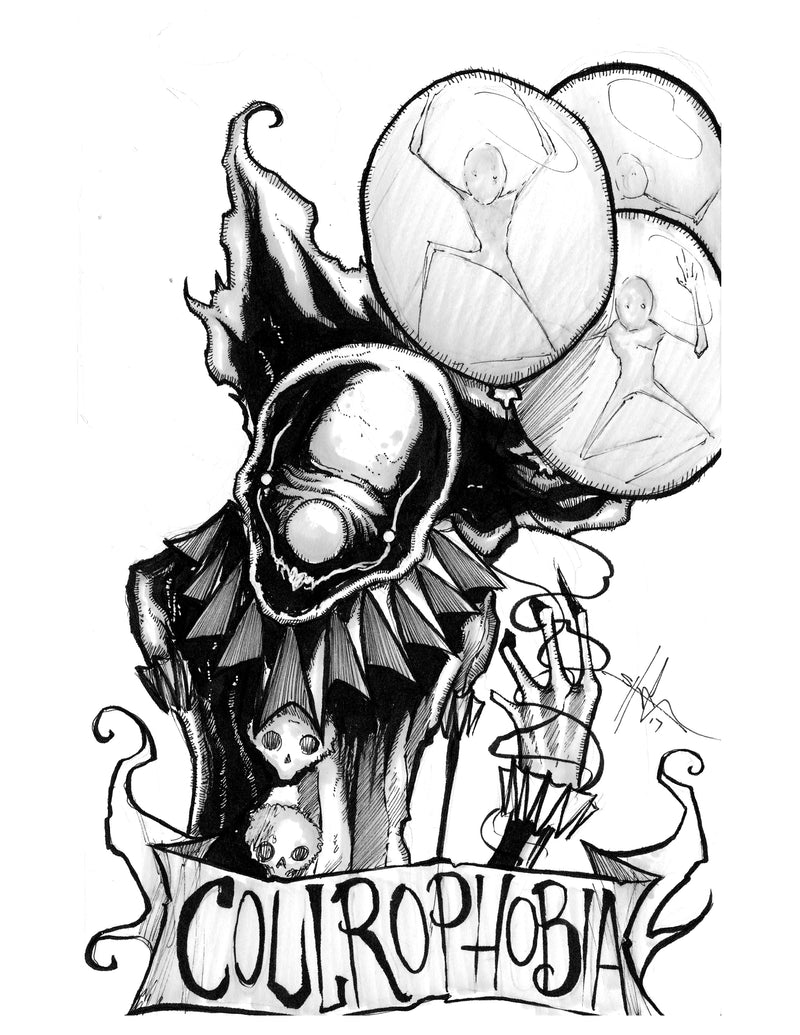 any means necessary feartober inktober poster print coulrophobia