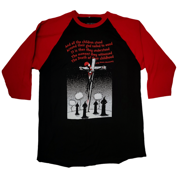 any means necessary shawn coss story time terrors death of childhood dr  seuss 3 quarter sleeve 3/4 red black t shirt raglan