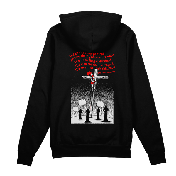 any means necessary shawn coss story time terrors death of childhood dr  seuss black pullover hoodie