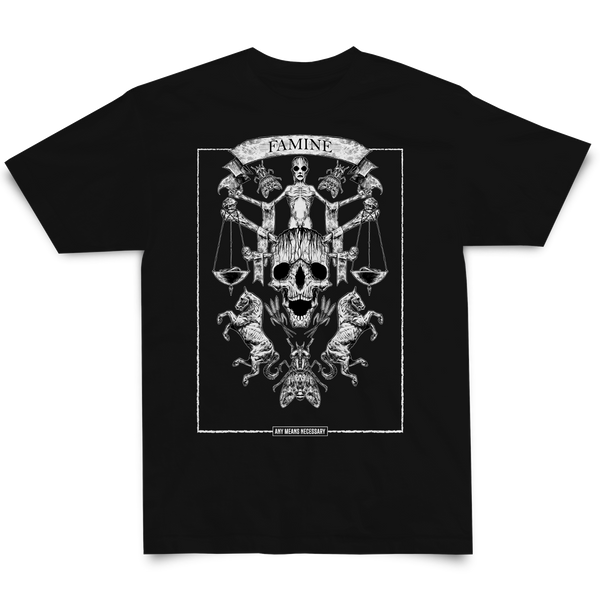 any means necessary shawn coss 4 horseman of the apocalypse famine t shirt black