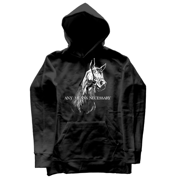 any means necessary shawn coss 4 horseman of the apocalypse pullover hoodie front black
