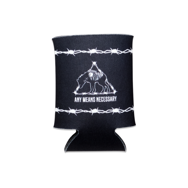 any means necessary shawn coss hyena barbed wire koozie