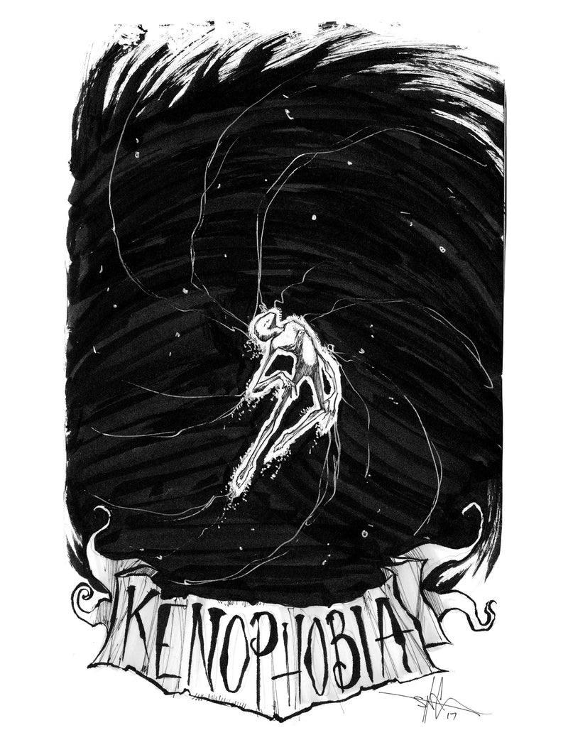 any means necessary feartober inktober poster print kenophobia