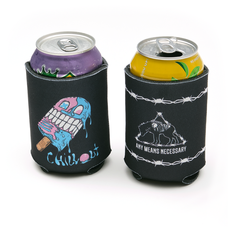 any means necessary shawn coss chill out hyena barbed wire koozie