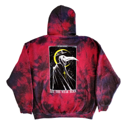 any means necessary shawn coss let the weak burn plague doctor pullover hoodie red and black tie dye