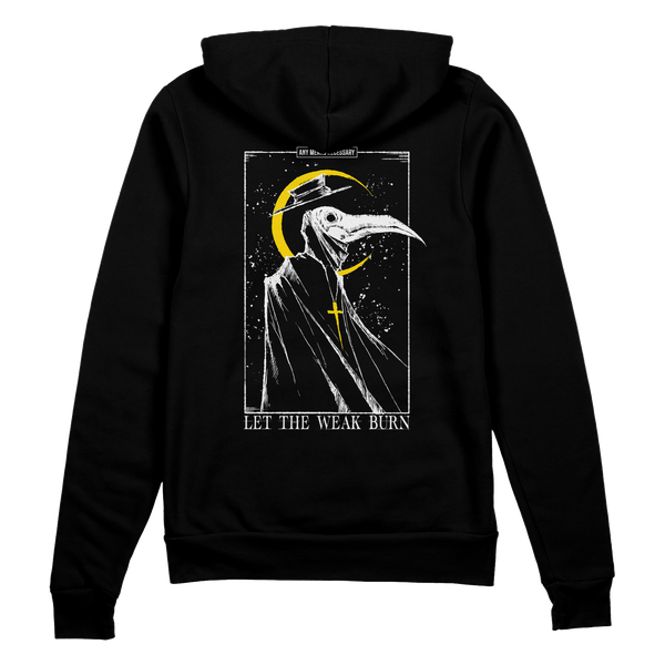 any means necessary shawn coss let the weak burn plague doctor pullover hoodie black back