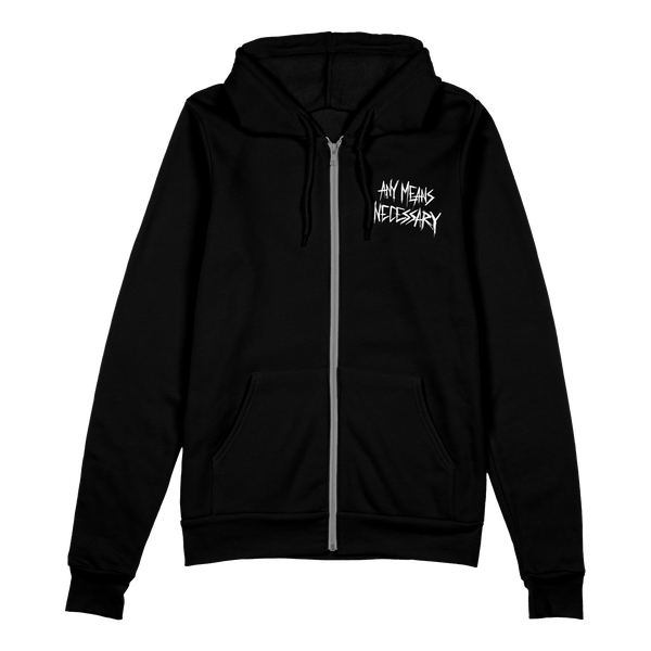 any means necessary shawn coss let the weak burn plague doctor zip up hoodie black