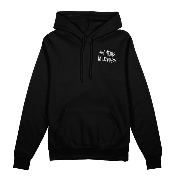 any means necessary shawn coss let the weak burn plague doctor pullover hoodie black front