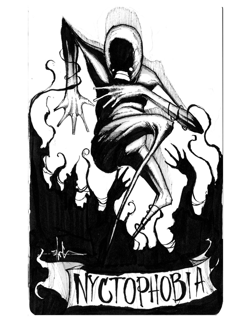 any means necessary feartober inktober poster print nyctophobia