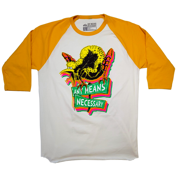 any means necessary shawn coss story time terrors big bird old birdy bastard 3 quarter 3/4 sleeve t shirt raglan