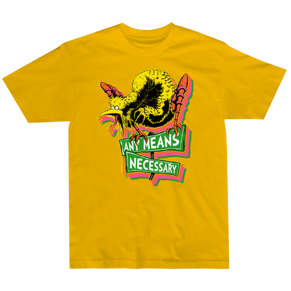 any means necessary shawn coss story time terrors big bird old birdy bastard t shirt yellow