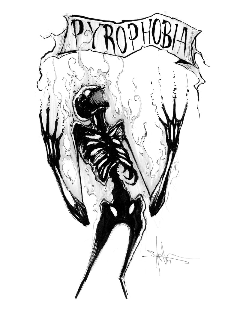 any means necessary feartober inktober poster print pyrophobia