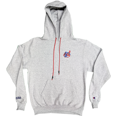 any means necessary the land cleveland indians champion pullover hoodie athletic heather grey