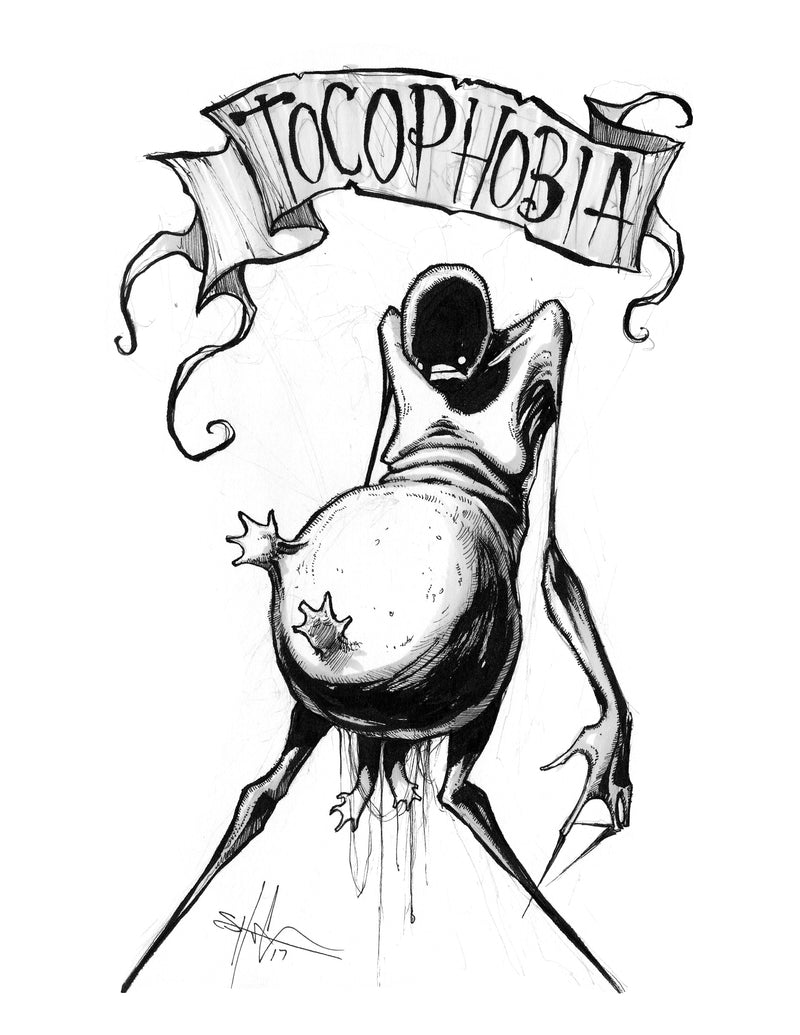 any means necessary feartober inktober poster print tocophobia