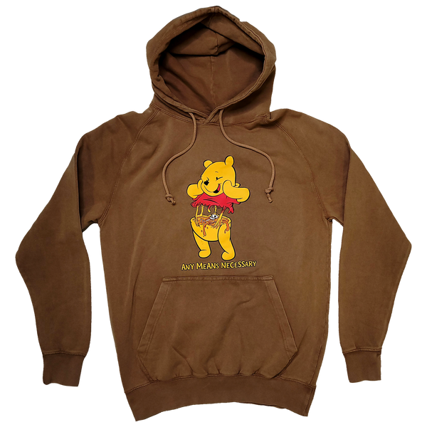 any means necessary shawn coss story time terrors winnie the pooh winnie consume pullover hoodie vintage camel brown