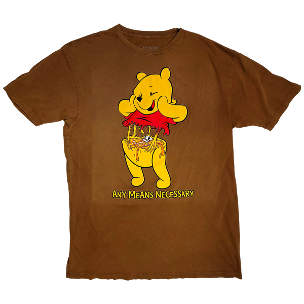 any means necessary shawn coss story time terrors winnie the pooh winnie consume t shirt vintage camel brown