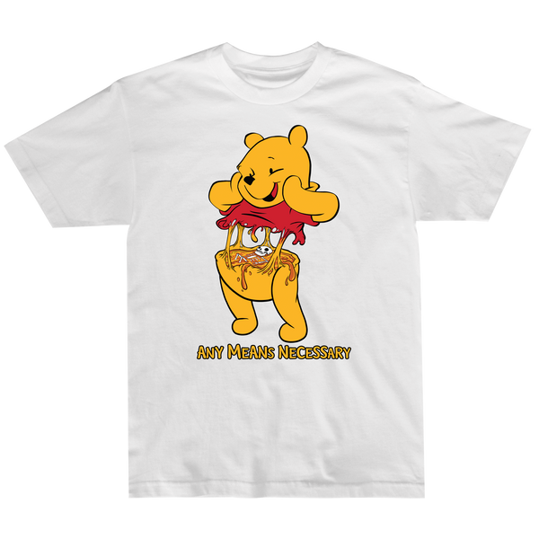 any means necessary shawn coss story time terrors winnie the pooh winnie consume t shirt white