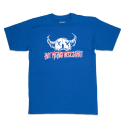 any means necessary shawn coss wretched t shirt royal blue front