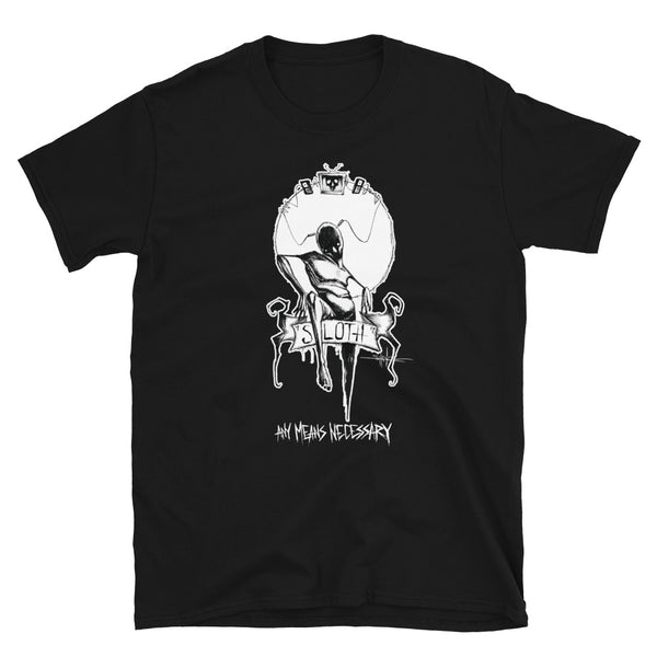 any means necessary shawn coss 7 sins sloth t shirt black