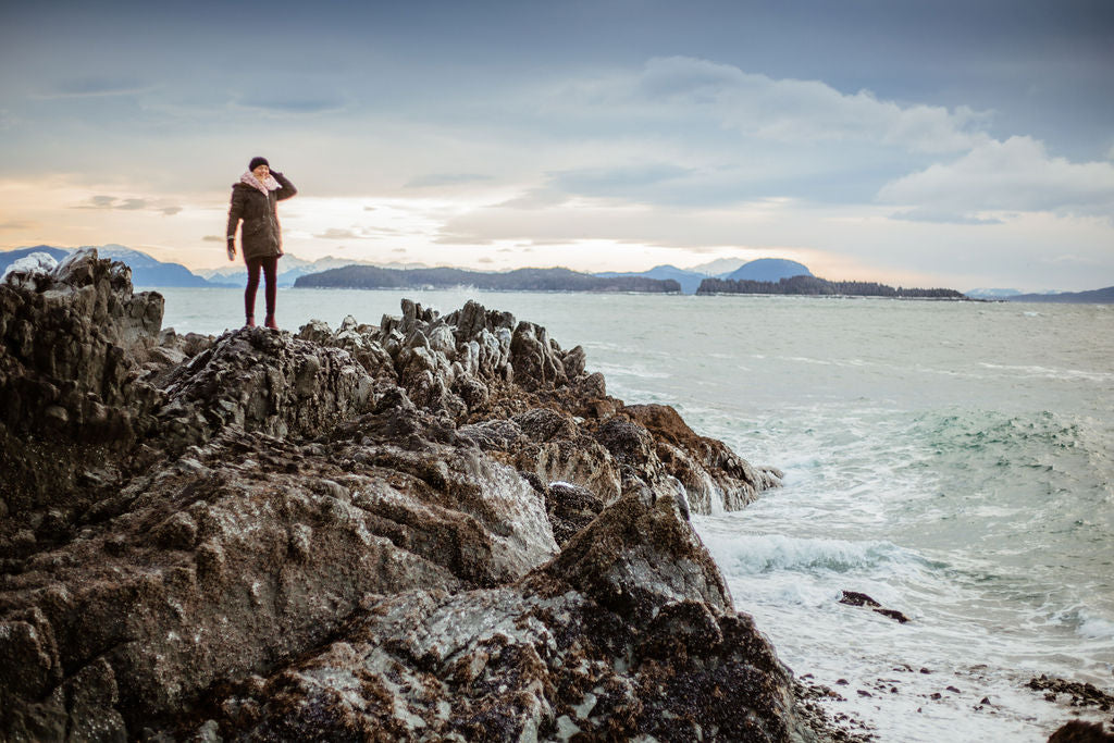 Crazy wind and waves out at Sunshine Cove in Juneau, Alaska by Resolute Boutique & Sydney Akagi