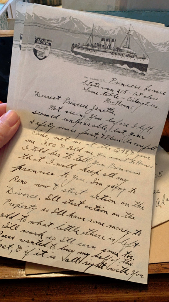 Great Grandmother Janette Edwards love letters in Ketchikan, Alaska