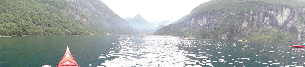 Kayaking in Geiranger, Norway. Cruising up the coast of Norway part 1 for Resolute Boutique
