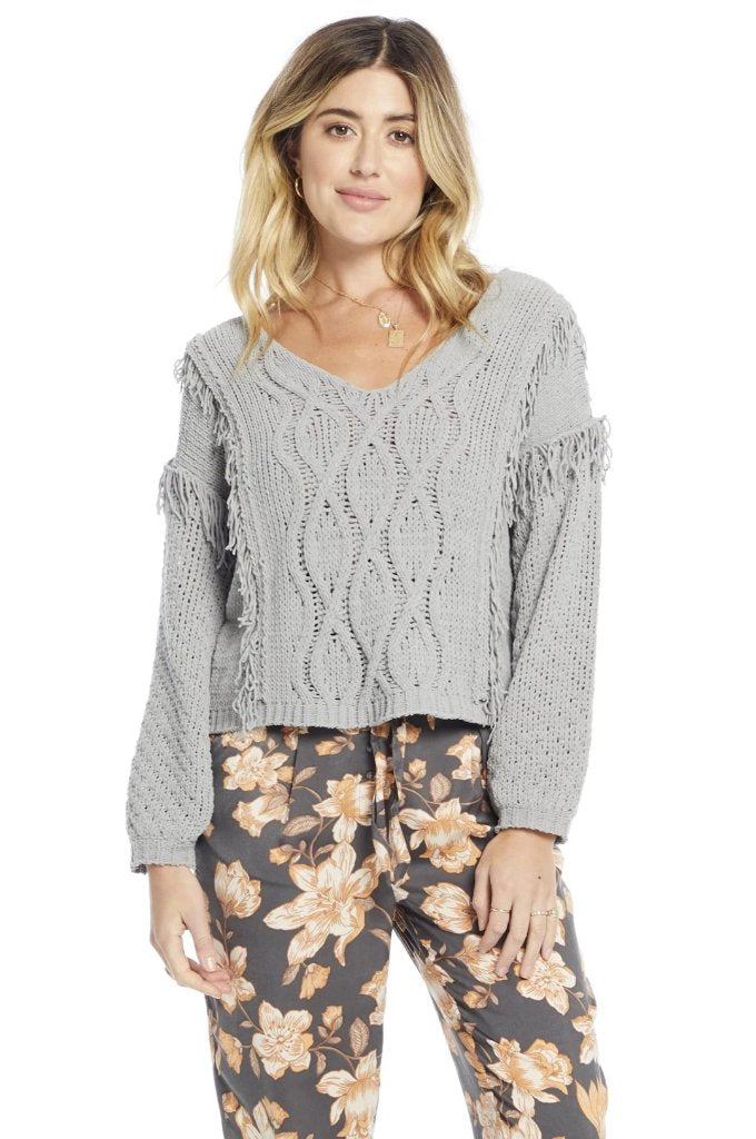 Fringe Sleeve Pullover Sweater
