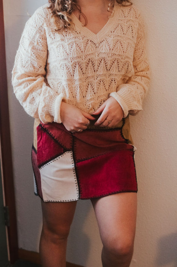 Penelope Suede Patchwork Mini Skirt