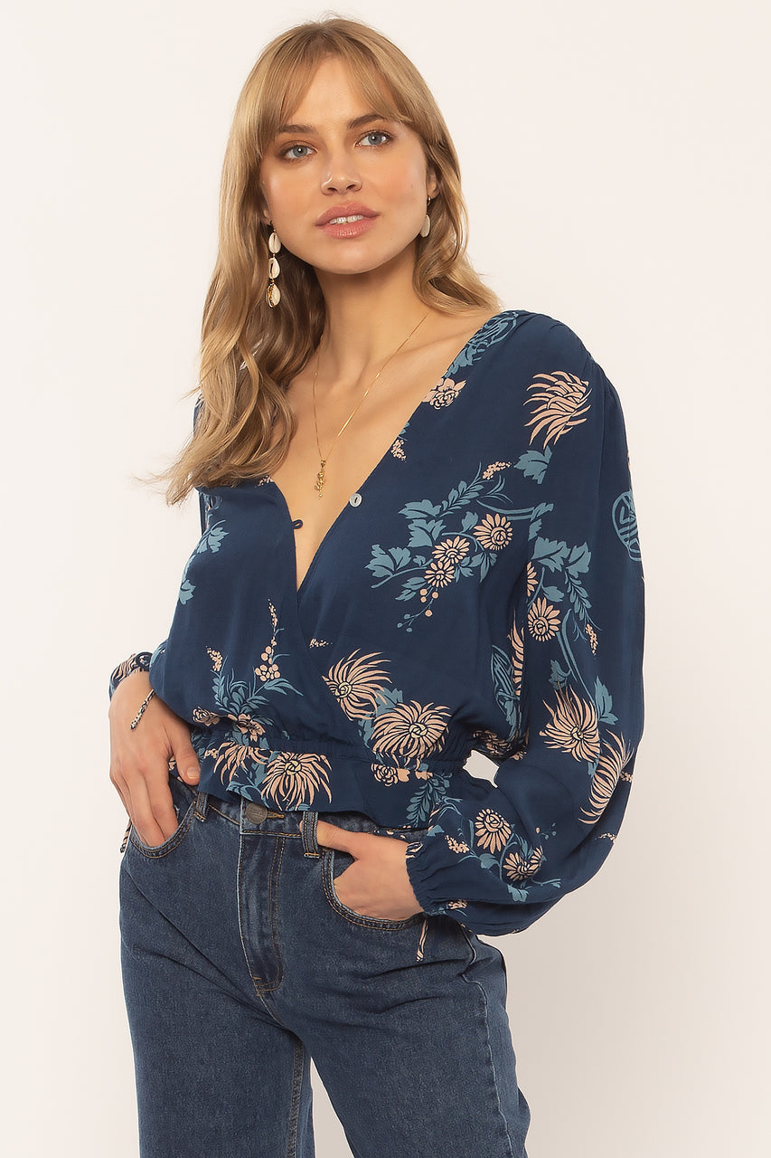 Night Moves Long Sleeve Woven Top